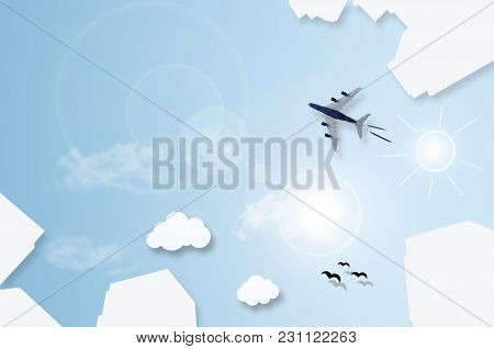 City High Rise Buildings Abstract, With Cloud Icons And Plane Flying Through The Sky