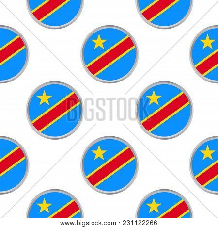 Seamless Pattern From The Circles With Flag Of  The Democratic Republic Of The Congo. Vector Illustr