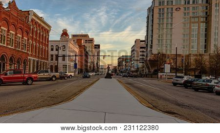 Montgomery,alabama, Usa- January 6, 2017: Point Of View Looking Up Commerce Street With The Historic