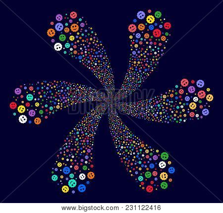 Bright Smiled Sticker Cyclonic Composition On A Dark Background. Vector Abstraction. Hypnotic Centri