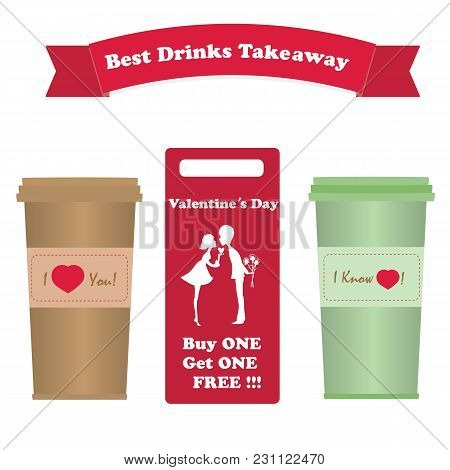 A Set Of Cups For Coffee Takeaway Vector White Background Banner For Product Advertising Cafe Restau