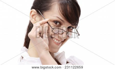 Closeup. Portrait Of A Successful Young Business Woman .isolated On White Background
