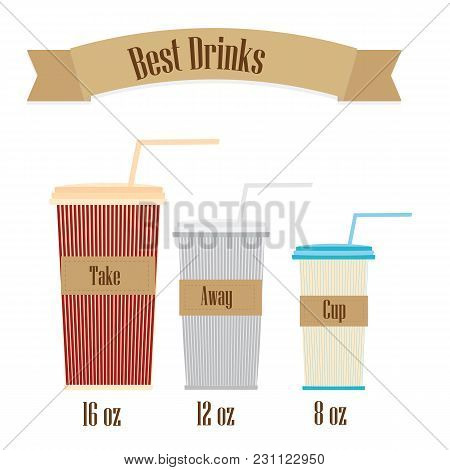 A Set Of Cups For Different Sizes Of Coffee Takeaway Vector White Background Banner For Product Adve