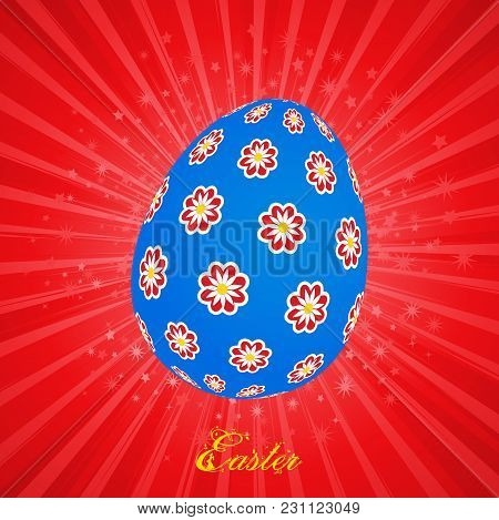Blue Decorated With Flowers Easter Egg And Decorative Yellow Text Over Red Star Burst Background
