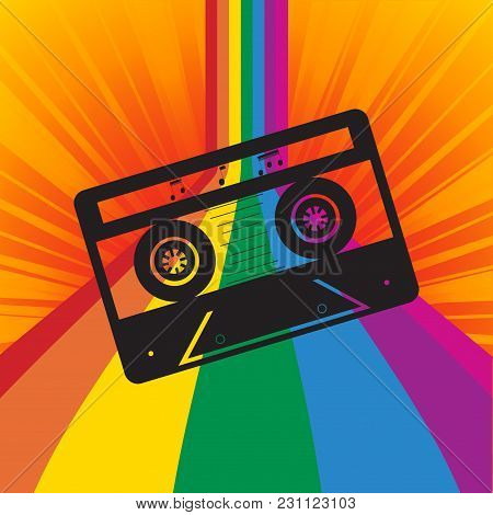 Black Vintage Silhouette Of Music Tape Cassette With Notes Over Multicoloured Striped Background