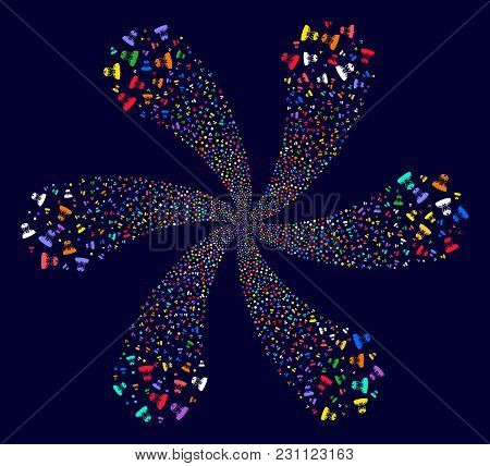 Bright Soldier Rotation Motion On A Dark Background. Vector Abstraction. Hypnotic Cluster Designed F