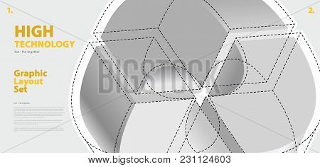 Graphic Layout Set With Abstract Curved Vector Shape, Reminiscent Of Technological Development, Nano