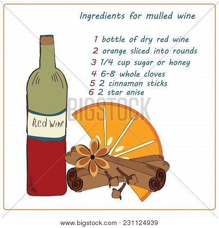 Recipe Ingredients Christmas Spices For Mulled Wine Handmade White Vector Background