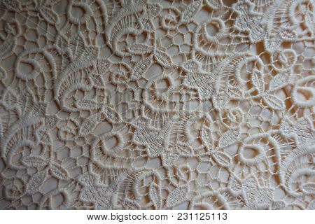 Ivory Delicate Perforated Lacy Fabric From Above