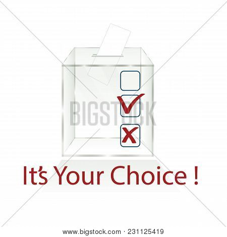 Empty Transparent Ballot Box Icons For Ballot Papers Isolated On White Background