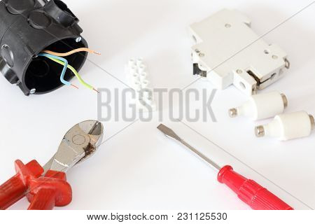 Some Electrical Equipment With Different Tools And Wire