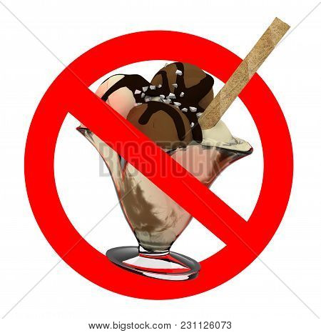 Sign No Ice Cream, Red Sign Isolated White Background 3d Illustration