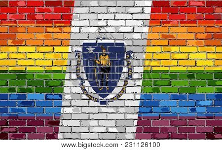 Brick Wall Massachusetts And Gay Flags - Illustration, Rainbow Flag On Brick Textured Background,  A