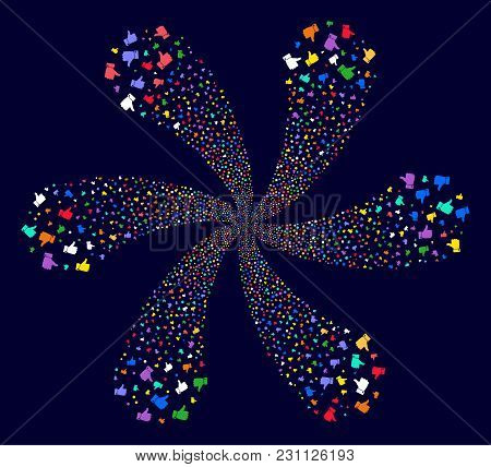 Multi Colored Thumb Up Cycle Flower With Six Petals On A Dark Background. Vector Abstraction. Psyche