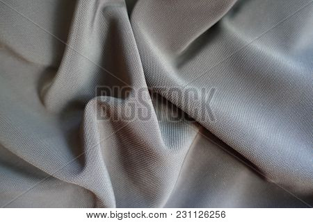 Jammed Dark Grey Viscose, Cotton And Polyester Fabric