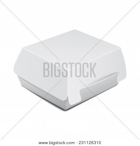 White Food Box, Packaging For Burger, Lunch, Fast Food, Sandwich. Vector Product Package On White Ba