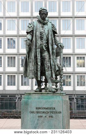 Hamburg, Germany - March 20, 2012: Carl Friedrich Petersen Statue In Hamburg. The Bronze Statue Of M