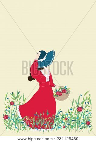 Card Girl Walking With A Basket Of Flowers On The Wild Blooming Meadow Spring Summer Nature Banner V