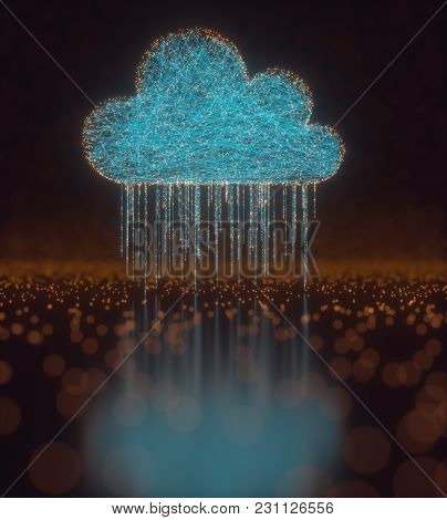 3d Illustration. Image Concept Of Cloud Computing. Connections Between Points Forming A Cloud. Data