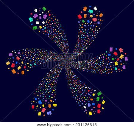 Multicolored Toolbox Explosion Fireworks On A Dark Background. Vector Abstraction. Hypnotic Flower O
