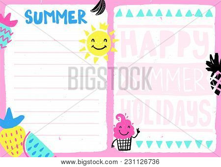 Daily Summer Planner Template. Note Paper With Funny Illustrations. Perfect For Kids. Organizer And
