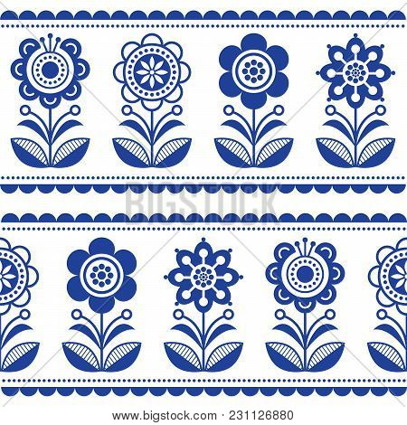 Scandinavian Seamless Folk Art Vector Pattern With Flowers And Hearts, Nordic Ornament Design - Long