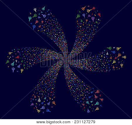 Attractive Trident Fork Rotation Bang On A Dark Background. Vector Abstraction. Suggestive Flower Do