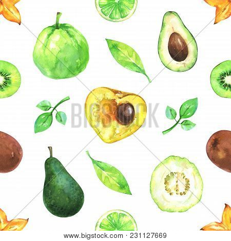 Hand Painted Seamless Exotic Pattern With Watercolor Carambola, Avocado, Lime, Kiwi, Guava And Green