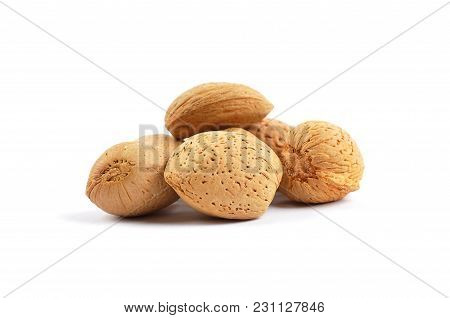 Colorful And Crisp Image Of Almonds In Shell On White