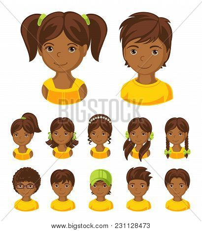 Children Face Set. Vector Illustration Set Of Different Avatars Of African Boys And Girls On A White