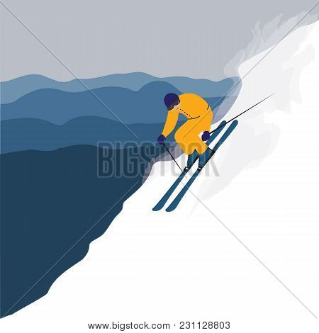 Skier In A Yellow Ski Suit Descends From The Mountain Flat Style Art Abstract Creative Modern Vector