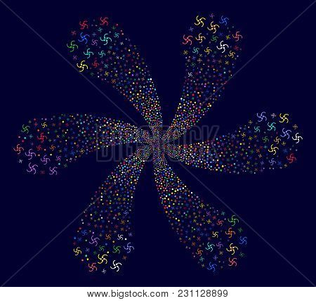 Attractive Vortex Arrows Exploding Abstract Flower On A Dark Background. Vector Abstraction. Psyched