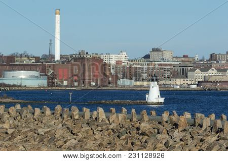 New Bedford, Massachusetts, Usa - March 11, 2018: Palmer Island Light Station With New Bedford Gas A