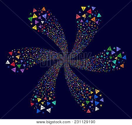 Multicolored Warning Cycle Flower With 6 Petals On A Dark Background. Vector Abstraction. Suggestive