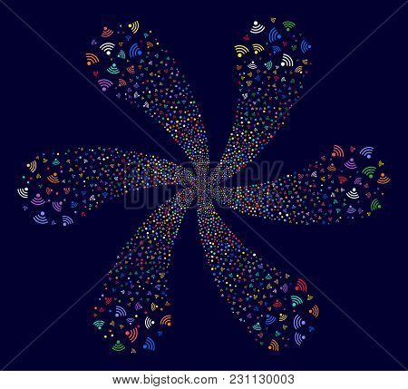 Multi Colored Wi-fi Source Swirl Fireworks On A Dark Background. Vector Abstraction. Psychedelic Clu