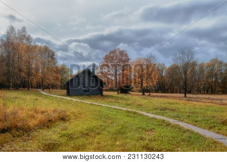 Veliky Novgorod, Russia - October 6, 2012 . Autumn Landscape With The Old Village Garner At The Muse