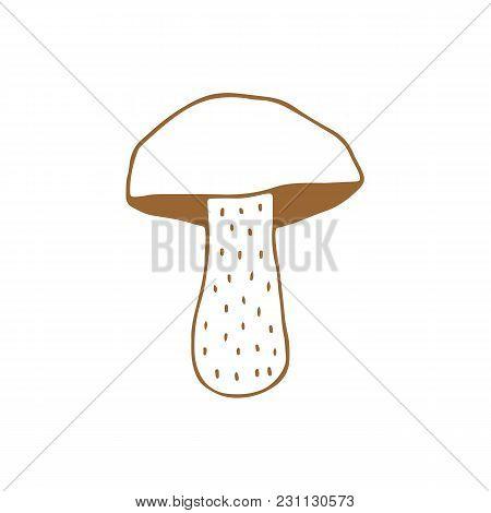 Linear Cartoon Hand Drawn Mushroom. Cute Vector Colorful Doodle Mushroom. Isolated Funny Mushroom Il