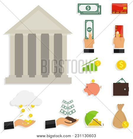 Icons Of Money, A Set Of Banknotes. Composite Set Of Money. Flat Design, Vector Illustration, Vector