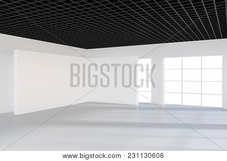 Empty Bright Office Room With Large Billboard. Light Ray On Wall. 3d Rendering.