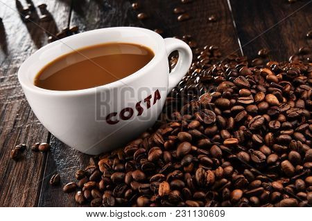 Cup Of Costa Coffee Coffee And Beans