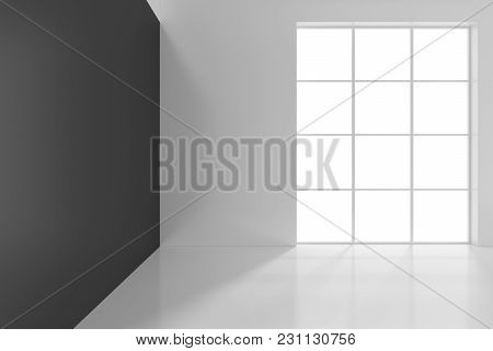 Bright Office With Large Windows. 3d Rendering.