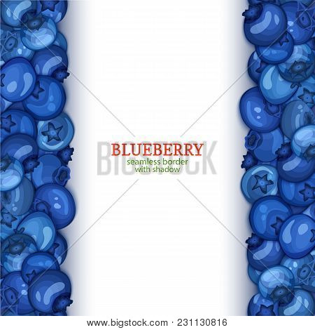 Ripe Blueberry Fruit Vertical Seamless Borders. Vector Illustration Card Wide And Narrow Endless Str