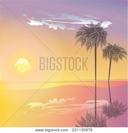Hot Day Landscape Palm Sea Sun Clouds Reflected Yellow Pink Background Vector Art Abstract Creative