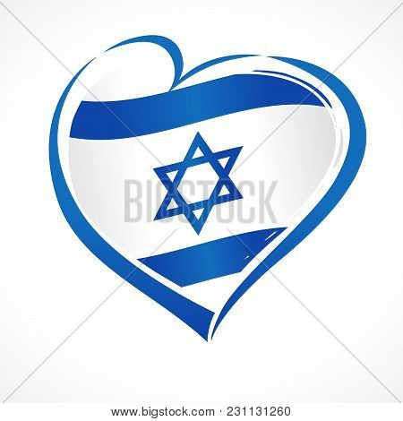 Love Israel, Heart Emblem National Flag Colored. Flag Of Israel With Heart Shape For Israel Independ