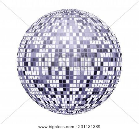 Very Bright, Blue Mirror Disco Ball, Vector Illustration For Your Design