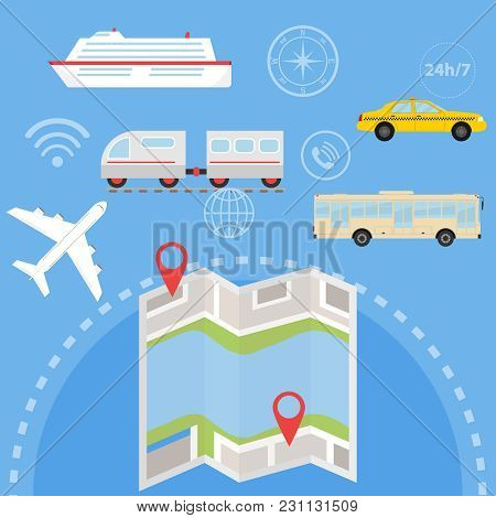 Navigation Set Of Passenger Transport With Locations And Labels On The Map. A Set Of Passenger Trans