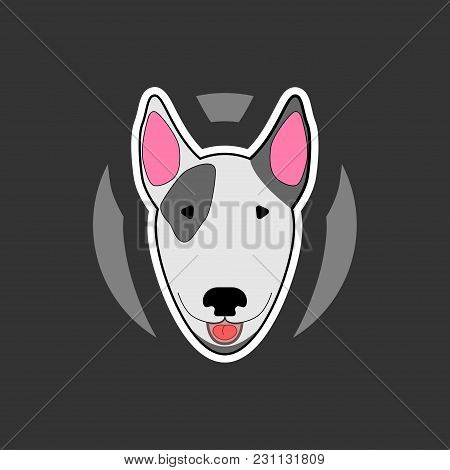Sticker With A Picture Of A Bull Terrier In A Cartoon Style