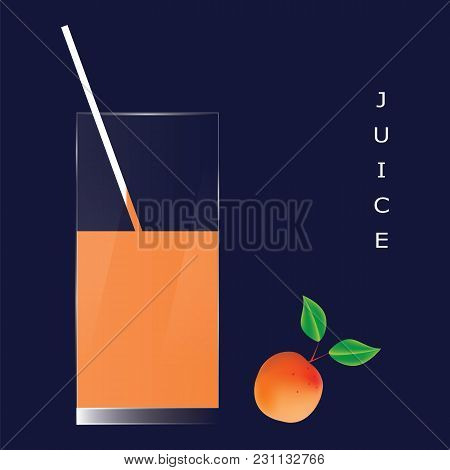 Apricot Juice In A Glass Apricot With Leaves Isolated Art Abstract Modern Illustration Of A Blue Bac