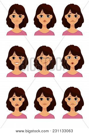 Face Expressions Of A Cute Woman. Different Female Emotions Set. Attractive Cartoon Character. Vecto