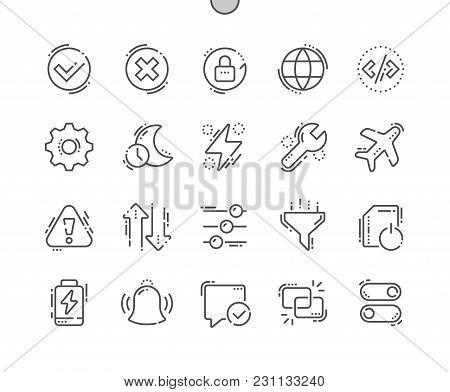 Setting Well-crafted Pixel Perfect Vector Thin Line Icons 30 2x Grid For Web Graphics And Apps. Simp